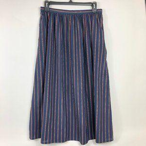 Talbots Striped High Waist Midi Skirt- See Measure